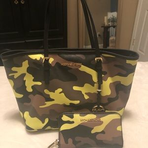 Camo Michael Kors bag with matching wallet